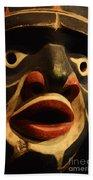 Haida Carved Wooden Mask 5 Bath Towel