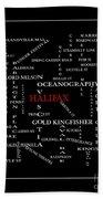 Halifax Nova Scotia Crosswords Red Hand Towel