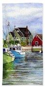 Peggys Cove Nova Scotia Watercolor Bath Towel