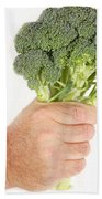 Hand Holding Broccoli Bath Towel