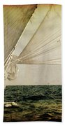 Hanged On Wind In A Mediterranean Vintage Tall Ship Race  Bath Towel