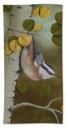 Hanging Around-red Breasted Nuthatch Hand Towel