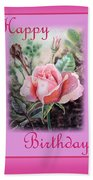 Happy Birthday Pink Rose  Hand Towel