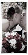 Happy Bride And Groom Kissing Bath Towel
