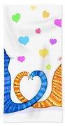 Happy Cats And Hearts Bath Towel