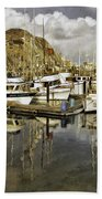 Harbor Reflection Impasto Bath Towel