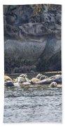 Harbour Seals Resting Bath Towel