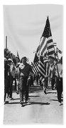 Hard Hat Pro-viet Nam War March Saluting Cops Tucson Arizona 1970 Black And White Bath Towel