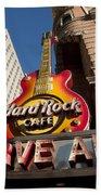 Hard Rock Cafe Guitar Sign In Philadelphia Bath Towel