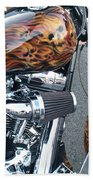 Harley Close-up Skull Flame  Bath Towel