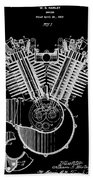 1923 Harley Davidson Black And White Engine Patent Bath Towel