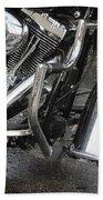 Harley Engine Close-up Rain 1 Bath Towel