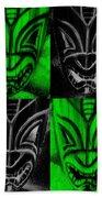 Hawaiian Masks Black Green Bath Towel