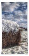 Hay Bale In The Snow Bath Towel