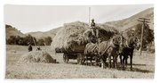 Horse-drawn Hay Wagon Carmel Valley California Circa 1905 Bath Towel