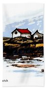 Head Harbour Lighthouse - Field Sketch Bath Towel