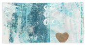 Heart In The Sand- Abstract Art Bath Towel