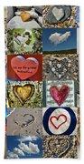 Heart Shape Collage  Bath Towel