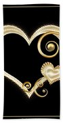Hearts In Gold And Ivory On Black Bath Towel