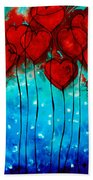 Hearts On Fire - Romantic Art By Sharon Cummings Bath Towel