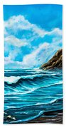 Heceta Head Lighthouse Oregon Coast Original Painting Forsale Bath Towel