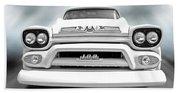 Here Comes The Sun - Gmc 100 Pickup 1958 Black And White Bath Towel