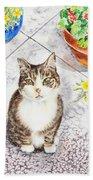 Here Kitty Kitty Kitty Bath Towel