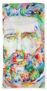 Herman Melville Watercolor Portrait.1 Bath Towel