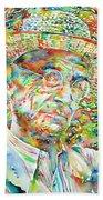 Hermann Hesse With Hat Watercolor Portrait Bath Towel