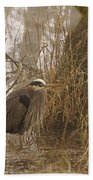 Heron In A Fog Bath Towel
