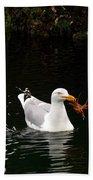 Herring Gull With Crab Bath Towel