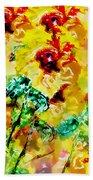 Hibiscus Impressionist Bath Towel