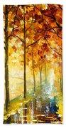 Hidden Path - Palette Knife Oil Painting On Canvas By Leonid Afremov Bath Towel