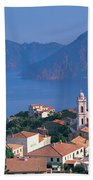 High Angle View Of A Town At The Coast Bath Towel