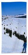 High Angle View Of Skiers Skiing, Vail Bath Towel
