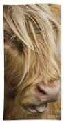 Highland Cow Portrait Bath Towel