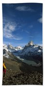 Hiker Admiring Cerro Torre And Fitzroy Bath Towel