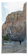 Hiker In Big Painted Canyons Trail In Mecca Hills-ca Bath Towel