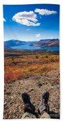 Hiker In Fall-colored Tundra Bath Towel