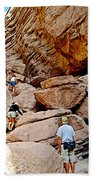 Hikers Enter Ladder Canyon From Big Painted Canyons Trail In Mecca Hills-ca  Bath Towel