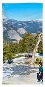 Hiking On Barren Rock On Sentinel Dome In Yosemite Np-ca Bath Towel