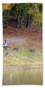 Hillside Of Canadian Geese Bath Towel