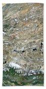 Himalaya Mountains Asia True Colour Satellite Image  Bath Towel