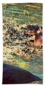 Hippopotamus Fight In River. Serengeti. Tanzania Bath Towel