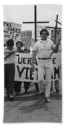 Hispanic Anti-viet Nam War March Tucson Arizona 1971 Black And White Bath Towel