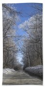 Hoar Frost On Campground Road Bath Towel