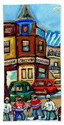 Hockey Art Montreal Winter Street Scene Painting Chez Vito Boucherie And Fairmount Bagel Bath Towel
