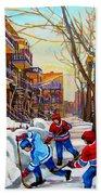 Hockey Art - Paintings Of Verdun- Montreal Street Scenes In Winter Bath Towel