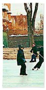 Hockey Art Shimmy Game Local Rink Montreal Paintings Winter Street Scene Verdun Art Carole Spandau Bath Towel