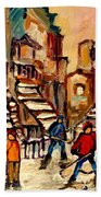 Hockey Game Near Winding Staircases Montreal Streetscene Bath Towel